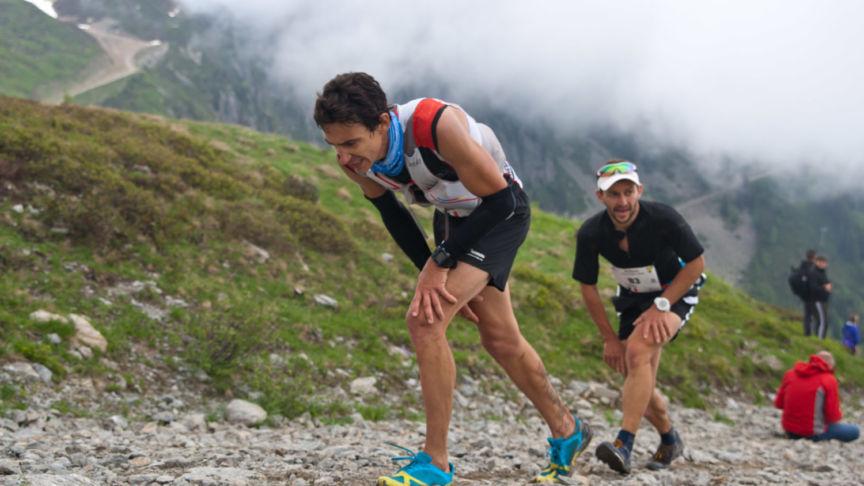 Uphill finish Mont Blanc Marathon