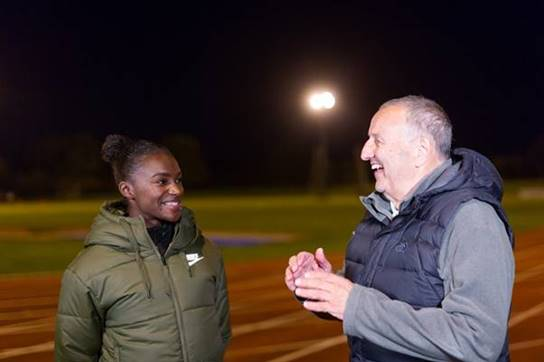 Dina Asher-Smith and John Blackie