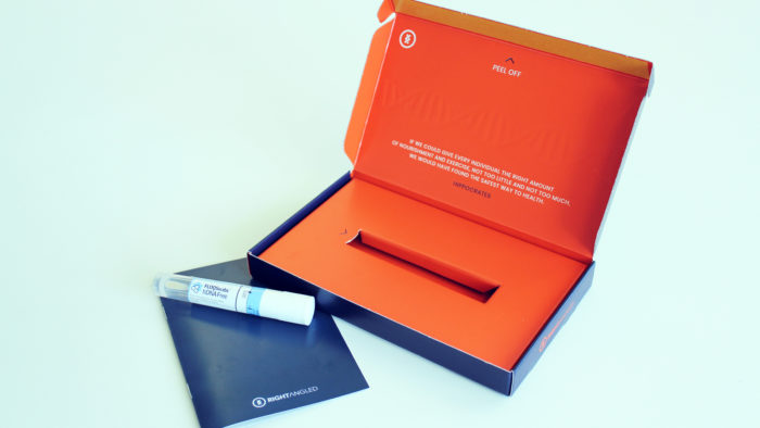 Rightangled DNA testing kit