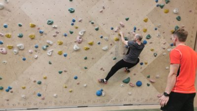 Climbing on a bouldering wall