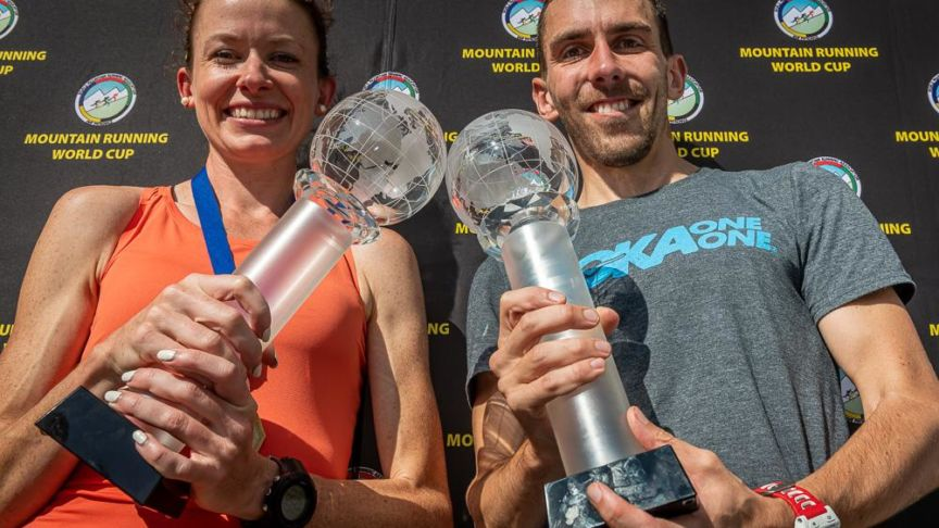 Sarah McCormack and Andrew Douglas presented World Cup trophies