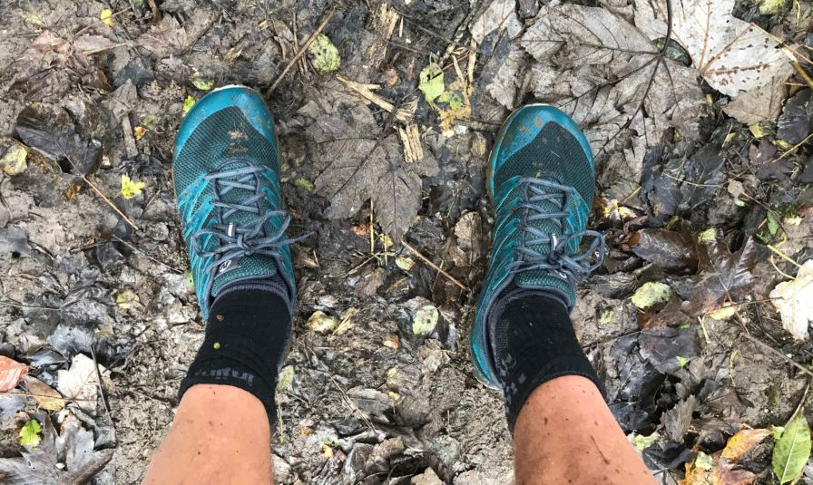 Merrell Bare Access XTR shoes on leaves