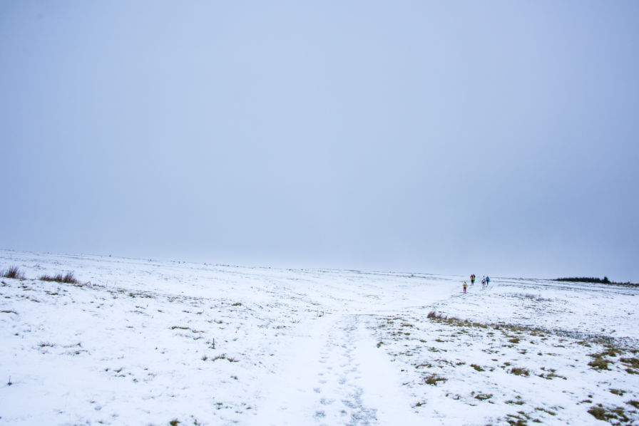 Runners on frozen Cheviot paths